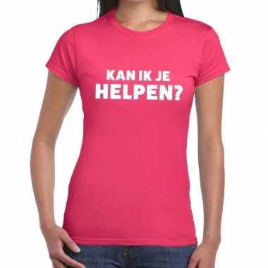 Evenementen tekst t shirt roze kan ik je helpen bedrukking dames