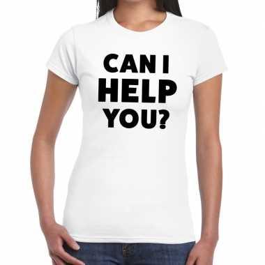 Evenementen tekst t shirt wit can i help you bedrukking dames