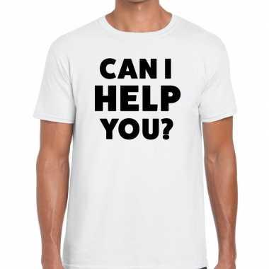 Evenementen tekst t shirt wit can i help you bedrukking heren