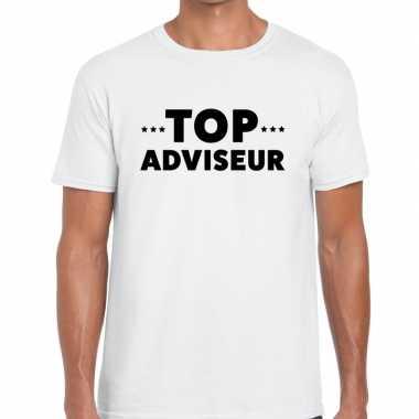Evenementen tekst t shirt wit top adviseur bedrukking heren