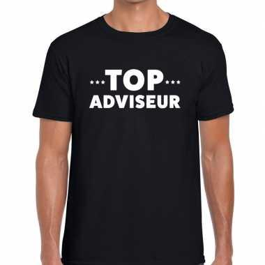 Evenementen tekst t shirt zwart top adviseur bedrukking heren