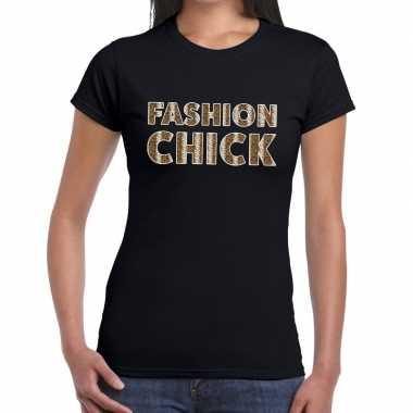 Fashion chick slangen print fun t shirt zwart dames