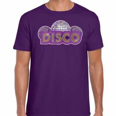Feest disco t shirt paars heren