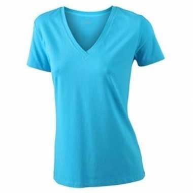 Felblauw dames t-shirts v hals