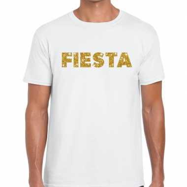 Fiesta goud tekst fun t shirt wit heren