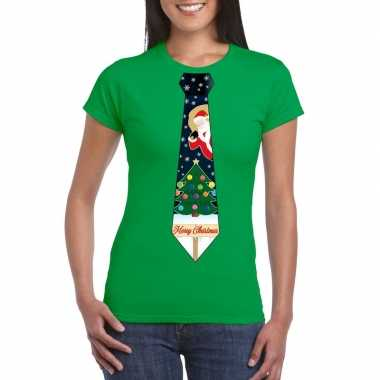 Fout kerst shirt groen kerstboom stropdas dames