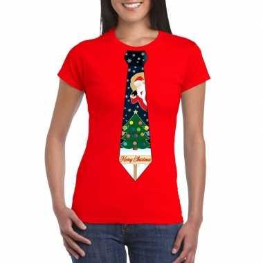 Fout kerst shirt rood kerstboom stropdas dames