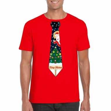 Fout kerst shirt rood kerstboom stropdas heren