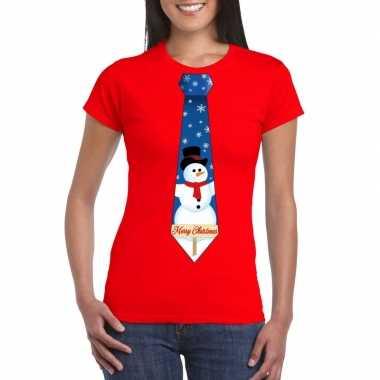 Fout kerst shirt rood sneeuwman stropdas dames