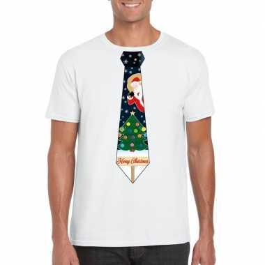 Fout kerst shirt wit kerstboom stropdas heren