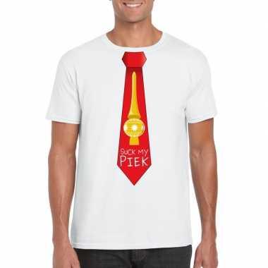 Fout kerst shirt wit suck my piek rode stropdas heren