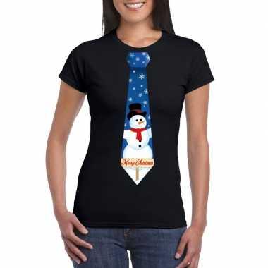 Fout kerst shirt zwart sneeuwman stropdas dames