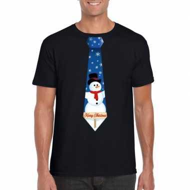 Fout kerst shirt zwart sneeuwman stropdas heren