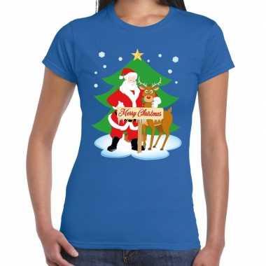 Fout kerstmis shirt blauw kerstman rudolf dames
