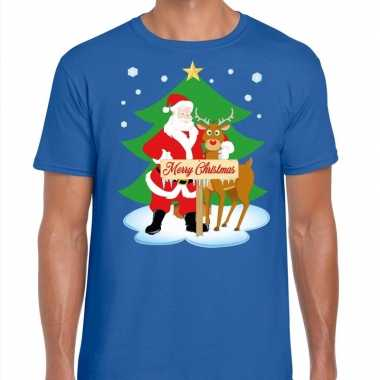 Fout kerstmis shirt blauw kerstman rudolf heren