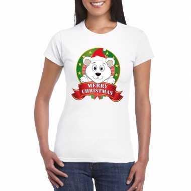 Fout kerstmis shirt ijsbeer dames