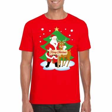 Fout kerstmis shirt rood kerstman rudolf heren