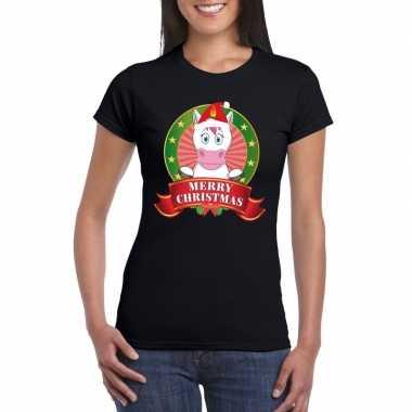 Fout kerstmis shirt zwart eenhoorn dames