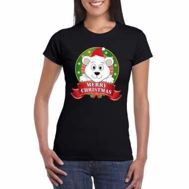 Fout kerstmis shirt zwart ijsbeer dames