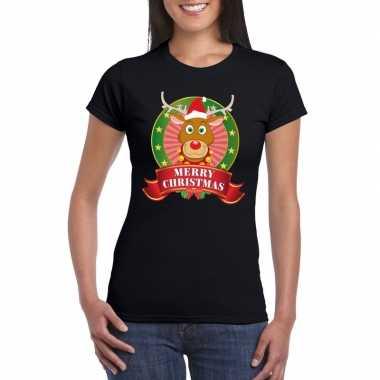 Fout kerstmis shirt zwart rendier rudolf dames