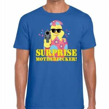 Fout pasen shirt blauw surprise motherfucker heren