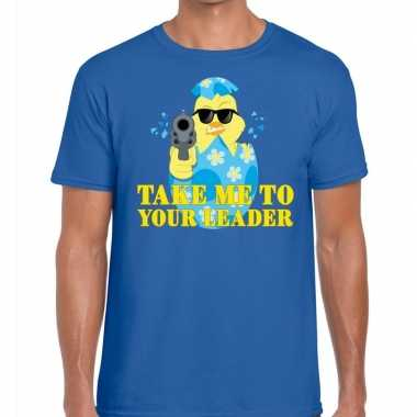 Fout pasen shirt blauw take me to your leader heren