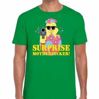 Fout pasen shirt groen surprise motherfucker heren