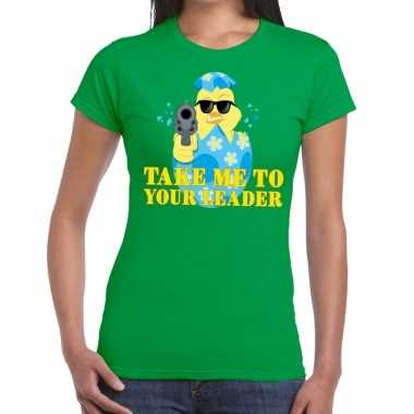 Fout pasen shirt groen take me to your leader dames