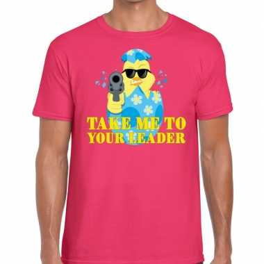 Fout pasen shirt roze take me to your leader heren