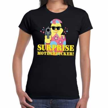 Fout pasen shirt zwart surprise motherfucker dames
