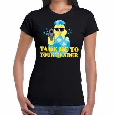 Fout pasen shirt zwart take me to your leader dames