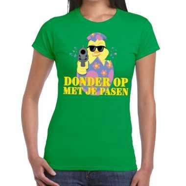 Fout pasen t shirt groen donder je pasen dames