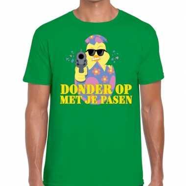 Fout pasen t shirt groen donder je pasen heren
