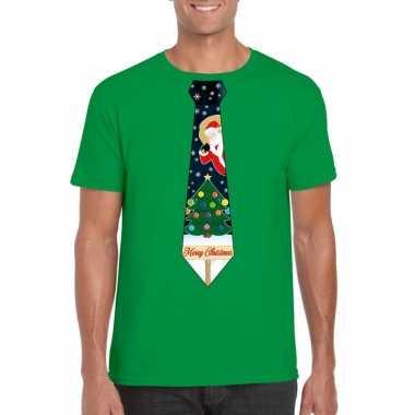 Foute kerst shirt groen kerstboom stropdas heren