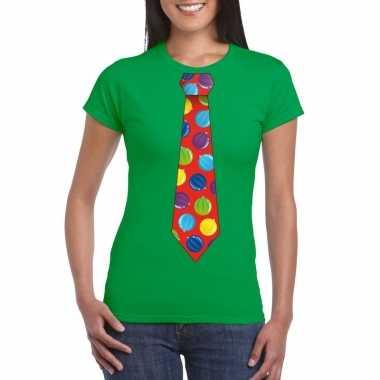 Foute kerst shirt kerstballen stropdas groen dames
