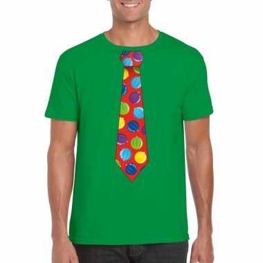 Foute kerst shirt kerstballen stropdas groen heren