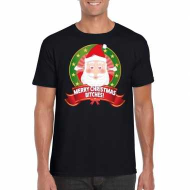 Foute kerst shirt merry christmas bitches heren