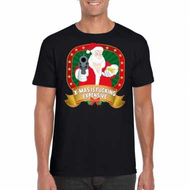Foute kerst shirt zwart x mas is fucking expensive heren