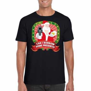 Foute kerst shirt zwart can i borrow some presents heren
