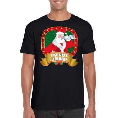 Foute kerst shirt zwart dronken kerstman heren
