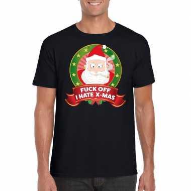 Foute kerst shirt zwart fuck off i hate x mas heren