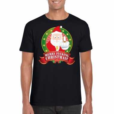 Foute kerst-shirt zwart merry fucking christmas heren
