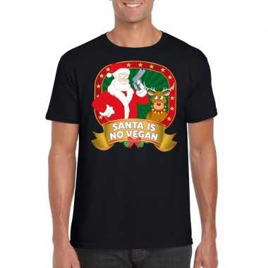 Foute kerst shirt zwart santa is no vegan heren