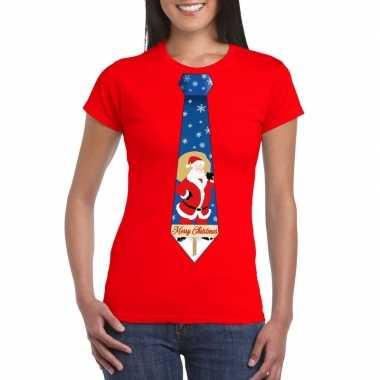 Foute kerst t shirt kerstman stropdas rood dames