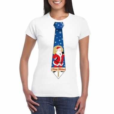 Foute kerst t shirt kerstman stropdas wit dames