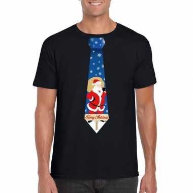 Foute kerst t shirt kerstman stropdas zwart heren