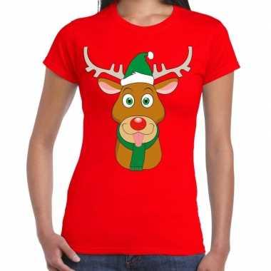 Foute kerst t shirt rood ruldolf rendier groene muts dames