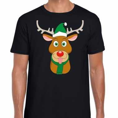 Foute kerst t shirt zwart ruldolf rendier groene muts dames
