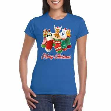Foute kerstborrel t shirt blauw kerstsokken diertjes dames