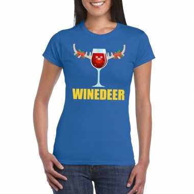Foute kerstborrel t shirt blauw winedeer dames